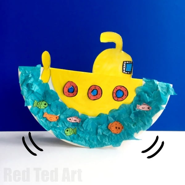 Rocking Paper Plate Submarine Craft for Preschoolers - super fun little summer craft for toddlers and & Rocking Paper Plate Submarine Craft for Preschoolers - Red Ted ...