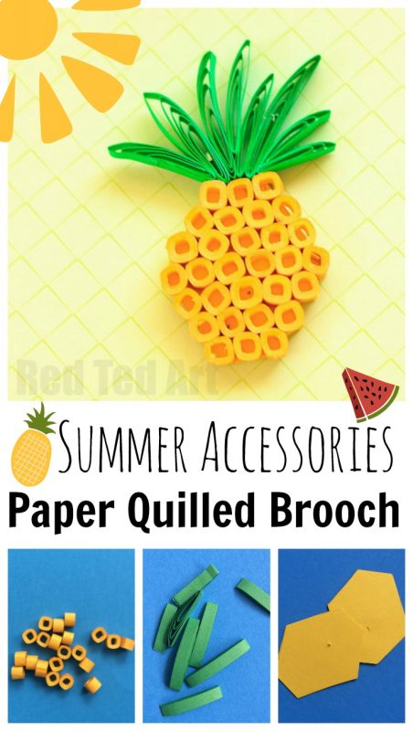 Paper Quilling Pineapple Brooch - oh the fun you can have with paper. Here is a cute DIY Summer Accessory - make your own Paper Quilled Pineapple Brooches (to go with our fab Watermelon Pendants too!)