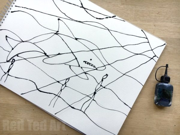 How To Make Straight Line Art : Ocean black glue art projects red ted s