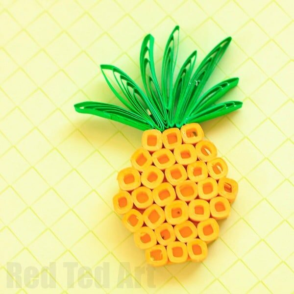 Paper quilling pineapple brooch red ted art 39 s blog for How to make your own quilling paper