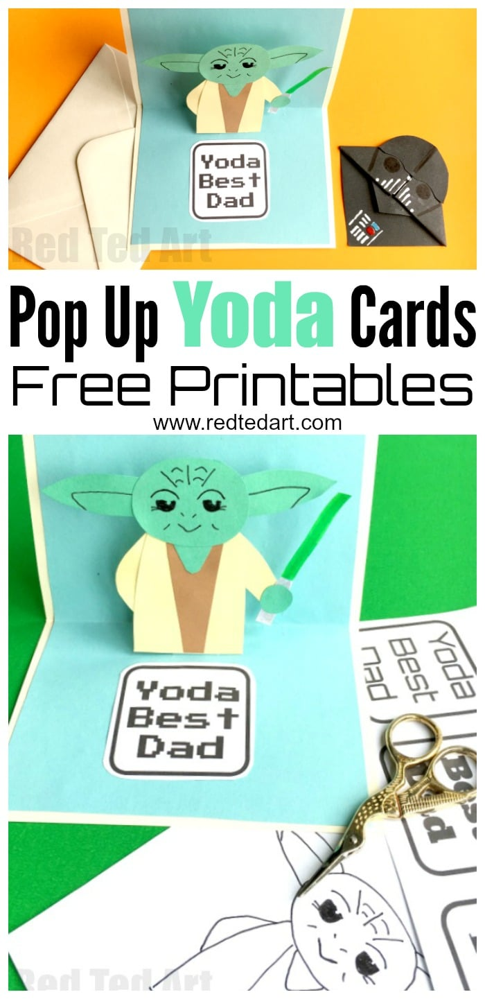 Pop Up Father's Day Card - Yoda Best Dad - fabulous and easy 3D Fathers Day card for Star Wars fans. This can be adapted for Birthdays, Teachers and of course Star Wars loving Mums. Make it from scratch following our step by step guide or use the fabulous Pop Up Father's Day Card PRINTABLES. May the Force be with you. #fathersday #fathers #yoda #printable #fathersdaycard #cards #popup #starwars