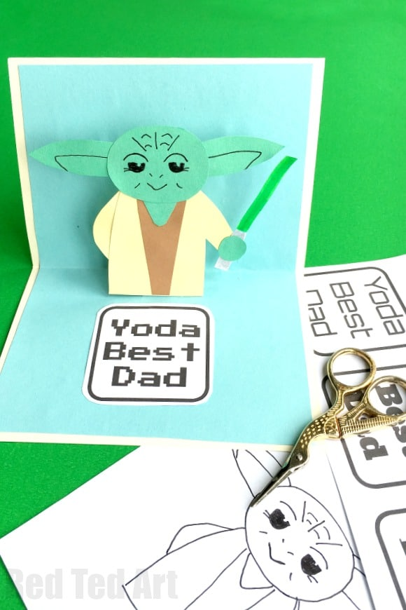image regarding Yoda Printable titled Pop Up Fathers Working day Card - Pink Ted Artwork