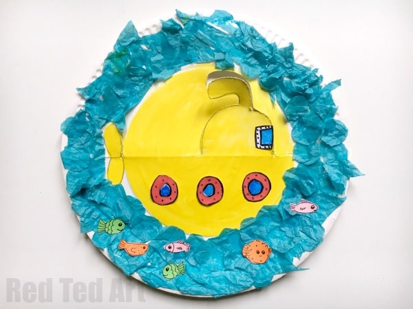 Rocking Paper Plate Submarine Craft for Preschoolers - super fun little summer craft for toddlers and & Rocking Paper Plate Submarine Craft for Preschoolers - Red Ted Artu0027s ...