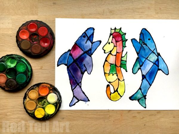 Ocean Bookmark Ideas - Shark & Seahorse Bookmarks - We love new Bookmark Ideas... and as we explore the arty world of black glue and watercolors we thought a set of Black Glue Bookmarks would look simply FABULOUS. They are fun and easy to make, look fantastic and we have included free Templates and Printables to make your DIYs even easier and quicker. Have you got any Summer Bookmark Ideas that you adore? Share them with us! Happy Summer Reading!
