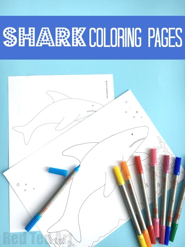 Shark Coloring Pages for Kids -Easy and Simple Shark Coloring pages for Summer. A great little summer activity for kids. Use it to color or as templates in a shark themed art project!