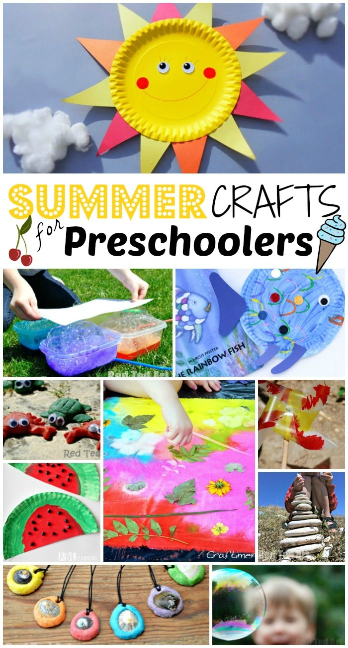 Summer Crafts for Preschoolers. These easy summer crafts for preschoolers contain 47 arts and crafts to keep your preschool aged child busy this summer. These hands on summer crafts for preschoolers are sure to please your toddlers too! #preschool #summer #summercrafts #summer #preschooler