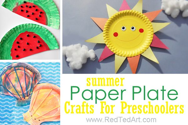 Paper plate summer crafts for preschool. Delightful and easy Summer arts and crafts for toddlers #preschool #summer #toddlers #paperplates