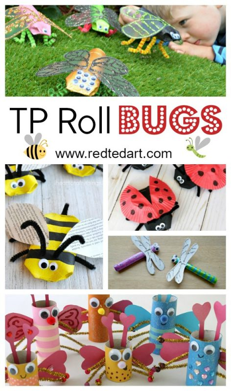 Bug TP Roll Crafts for Kids - oh how we love easy Toilet Paper Crafts for kids.. and here are some great TP Roll Ideas for Spring and Summer: make these darling BUG TP Roll Crafts. They are simply too adorable. Which to make first? #toiletpaperolls #bugs #bugcrafts #preschoolers #toddlers #spring #summer
