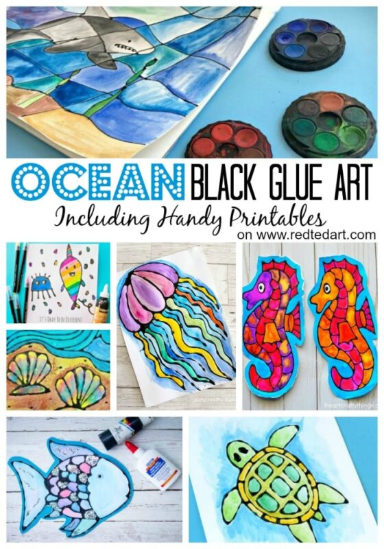Black Glue Art Projects - If you are looking for Summer Art  Projects have a look at these fabulous Black Glue & Watercolour techniques. Don't they look wonderful? The process is fun and to make things easier there are some great printables to go with them. From simple Fall art projects to Summer bookmarks