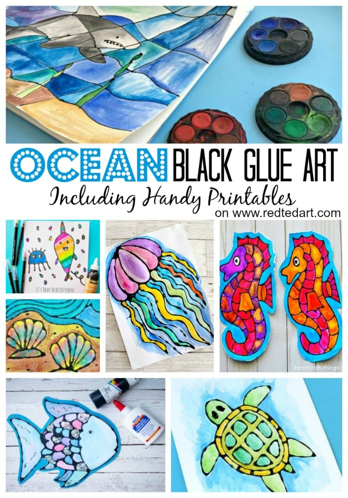 Ocean Black Glue Art Projects - fancy giving black glue and watercolors ago? Dive straight into these Under the Sea Black Glue Art Projects. So many fabulous designs to choose from complete with free Under the Sea Printables to help you along the way. Enjoy. Explore the Ocean and Black Glue Art this Summer. Wonderful Summer Art Projects for Kids and grown ups alike.