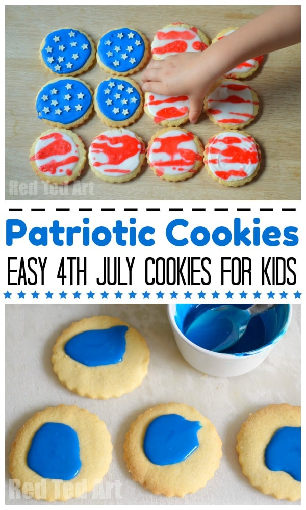 Easy 4th July Cookies for Kids to make - use store bought cookies or use our #EggFree Shortbread recipe. Super fun and easy Patriotic Cookies #americanflag #patriotic #4thjuly #july4th #forkids #forpreschool