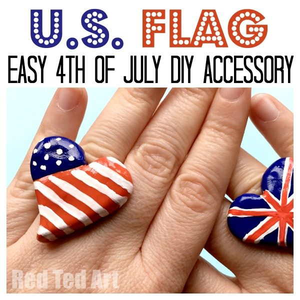 American Flag Ring DIY - get accessorised for 4th of July with these oh so cute and easy Patriotic Rings.