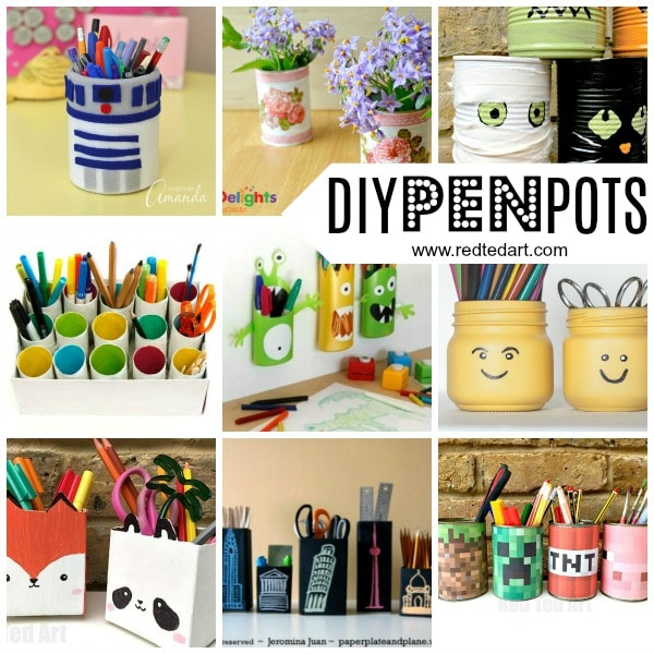 Easy Pencil Holder DIY Ideas - |If you are getting your School Supplies in order and want some DIY School Supplies and / or DIY Desk Tidies, here are some great Pencil Holder DIYs that are quick, fun and easy to make. Easily change them around to suit the seasons or latest interests!!