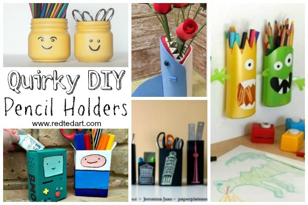 Quirky Pencil Holder DIY Ideas - |If you are getting your School Supplies in order and want some DIY School Supplies and / or DIY Desk Tidies, here are some great Pencil Holder DIYs that are quick, fun and easy to make. Easily change them around to suit the seasons or latest interests!!