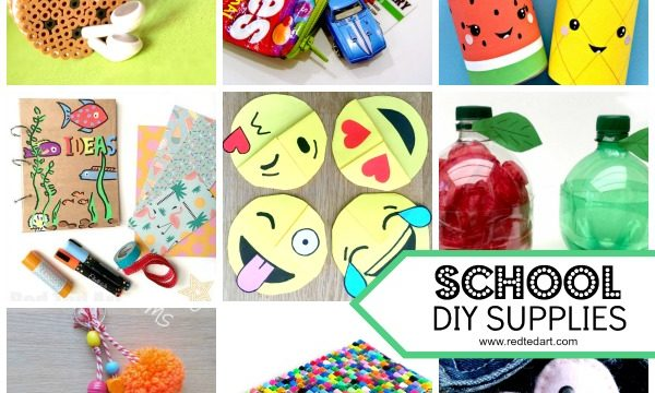 Collage of DIY school supplies to make with kids
