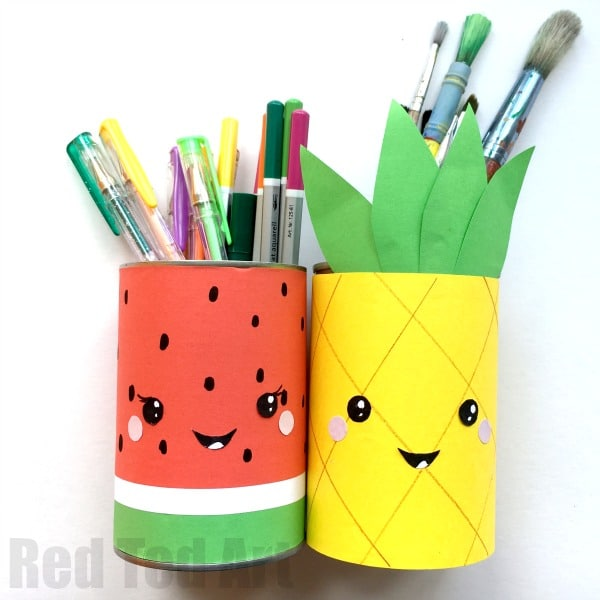 Summer pencil holders red ted art 39 s blog Diy pencil holder for desk
