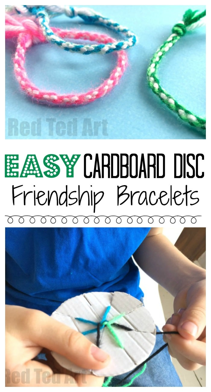 How to make Friendship Bracelets with a Cardboard Loom - easy yarn bracelets for kids made with a Cardboard Circle. Great for road trips and summer camps! #friendship #summercamp #summer #bracelets #forteens #forkids