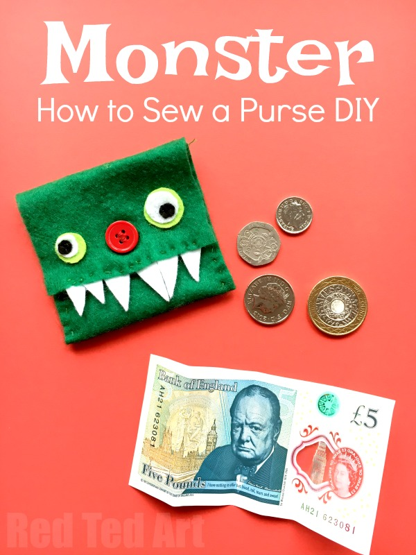 "Easy Kids Monster Purse DIY. We love sewing and are always looking for easy sewing projects for kids. Here is a great how to sew a purse diy.. and I love that it is so cute and fun. Make this Easy Monster Purse today. Great for ""Back to School"" and keeping your dinner money or for Halloween!"