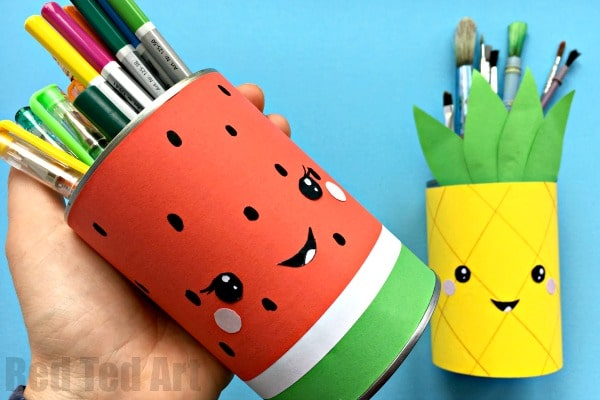 Summer Pencil Holders - this little Melon Pen Pot and Pineapple Pen Pot are super quick and easy to make and look oh so fun. Update your craft area for summer. Love a bit of upcycling for summer. Happy Summer Crafts for Kids! #Penpots #summer #desktidies #roomdecor #pineapple #watermelon