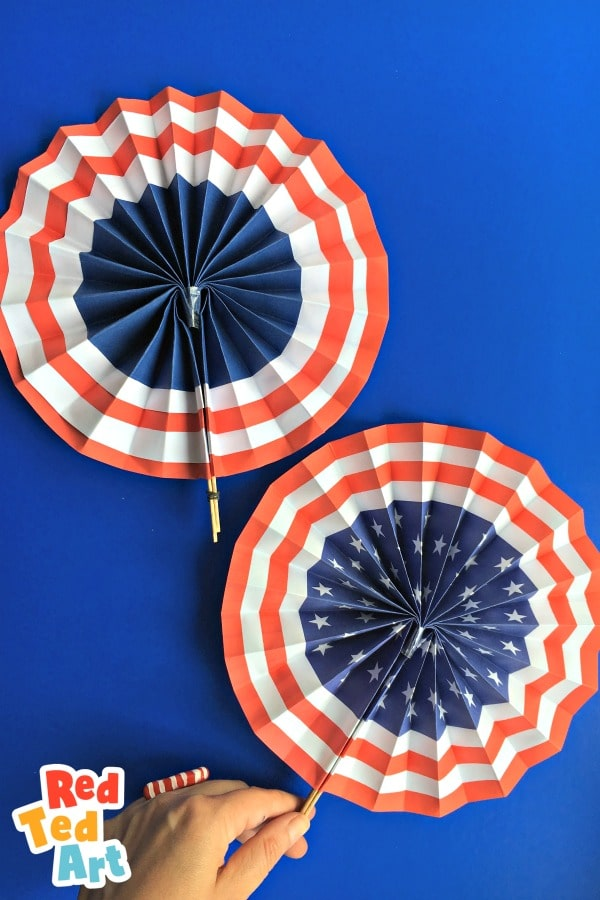 2 American Flag Paper Fans