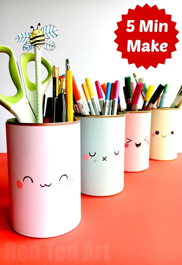 Kawaii pencil holder diy idea red ted art 39 s blog Diy pencil holder for desk