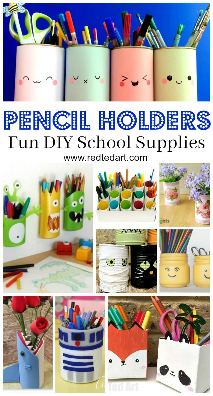 Pencil Holder DIY Ideas - |If you are getting your School Supplies in order and want some DIY School Supplies and / or DIY Desk Tidies, here are some great Pencil Holder DIYs that are quick, fun and easy to make. Easily change them around to suit the seasons or latest interests!!