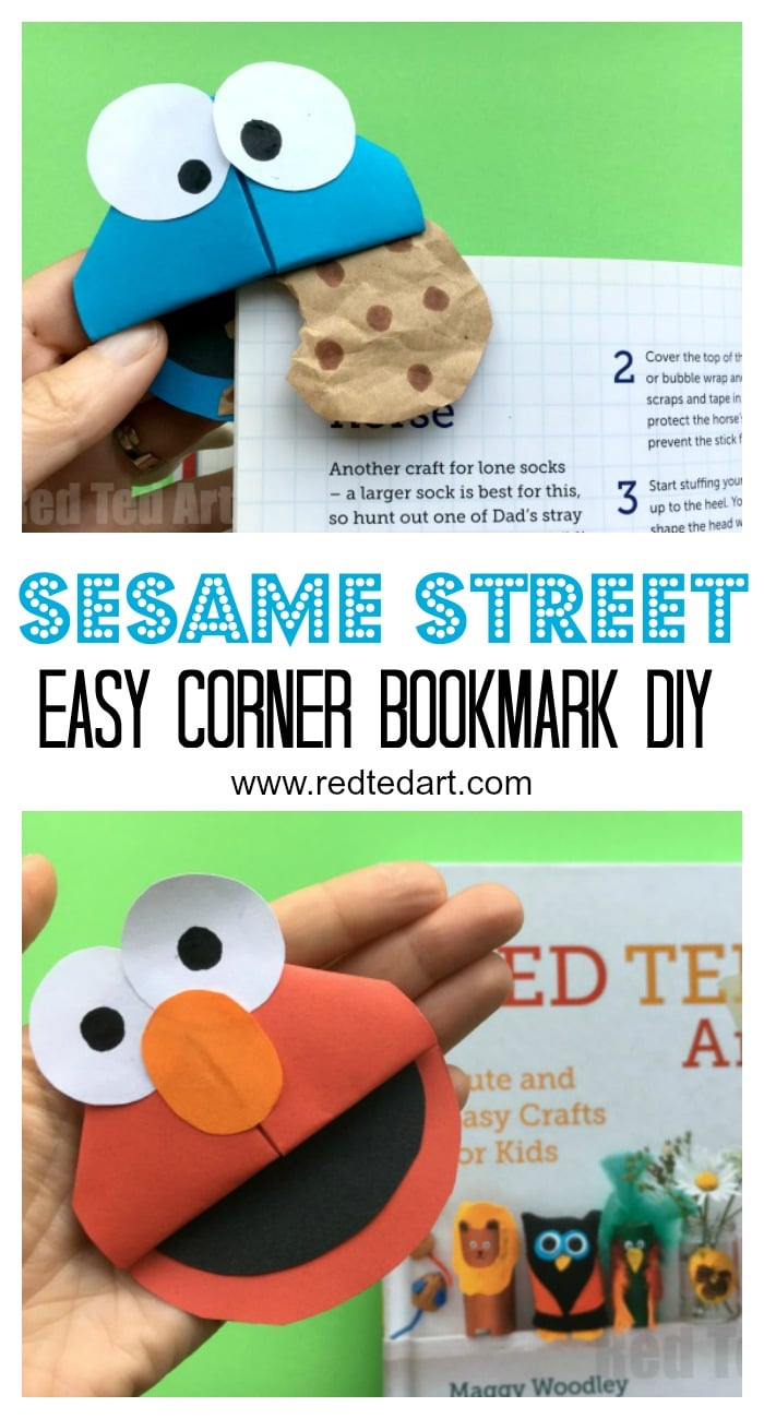 Love these Sesame Street Corner Bookmark DIYs - make this adorable Cookie Monster Bookmark and Elmo! We love easy paper crafts for kids!