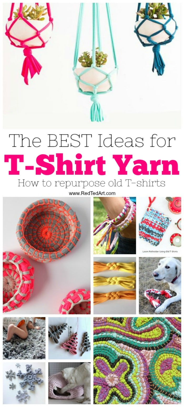 T-Shirt Yarn Ideas - we LOVE upcycling and repurposing T-shirts is a great way to do just that. Old t-shirts make great DIY T-Shirt Yarn which is perfect for kids DIYs, weaving and crochet. We have some great ideas for you to use this wonderful material. Take a peak today! Love these T-shirt Yarn Ideas!