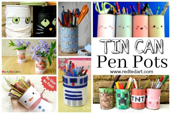 Tin Can DIYs - Pencil Holder DIY Ideas - |If you are getting your School Supplies in order and want some DIY School Supplies and / or DIY Desk Tidies, here are some great Pencil Holder DIYs that are quick, fun and easy to make. Easily change them around to suit the seasons or latest interests!!