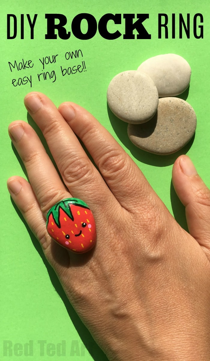 """DIY Stone Ring - Kawaii Strawberry Ring DIY - Love a good ROCK DIY? Check out these super duper cute rock rings. They are a perfect summer keepsake as well as summer accessory. So fun. And we made our own """"ring base"""" too, so you don't need to go out and buy fancy stuff!"""