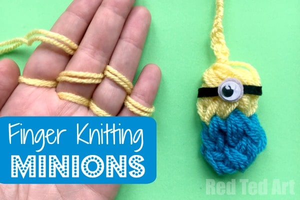 Finger Knitted Minion - we love the Minions. We love Finger Knitting and combining them makes the perfect finger knitting minion craft. These cute woolly minions are fab little Back Pack Charms or keychains. Love!