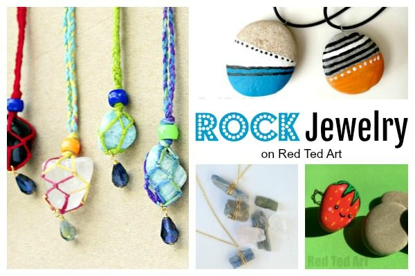 Rocks make great jewelry. Here are some easy way to turn stones into jewelry. Easy Rock Crafts for Kids - my kids love collecting rocks when on holiday. Here are some wonderful easy rock crafts for kids to make! #rocks #rockpainting