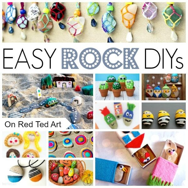 collage of rock crafts for kids