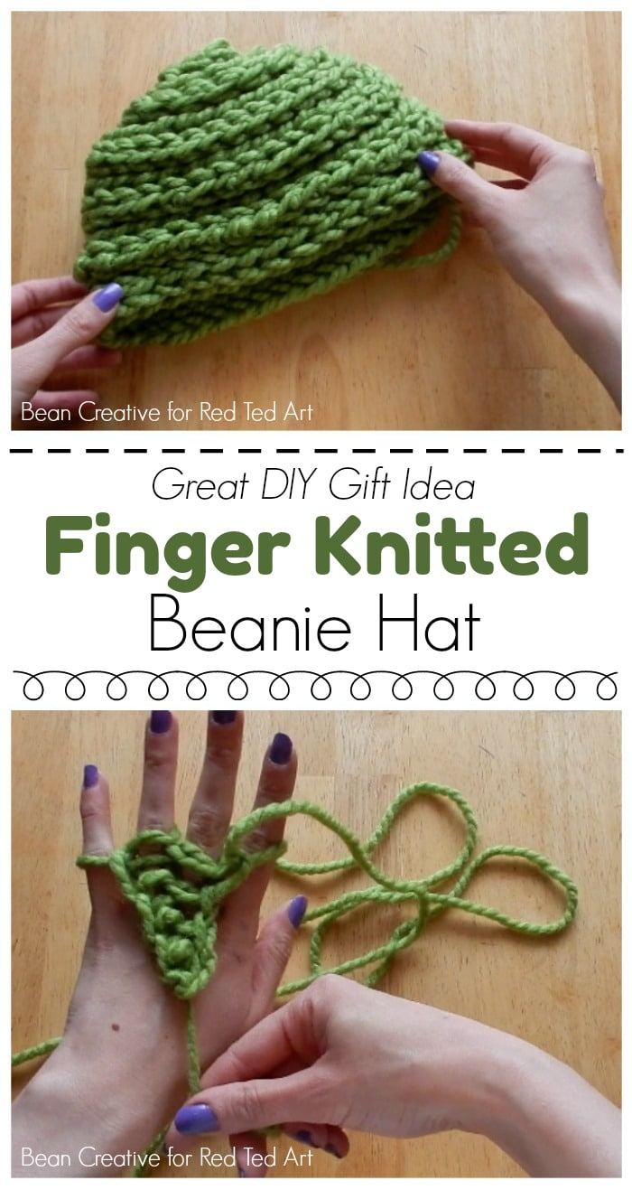 How To Finger Knit A Beanie Hat Diy Red Ted Art 39 S Blog