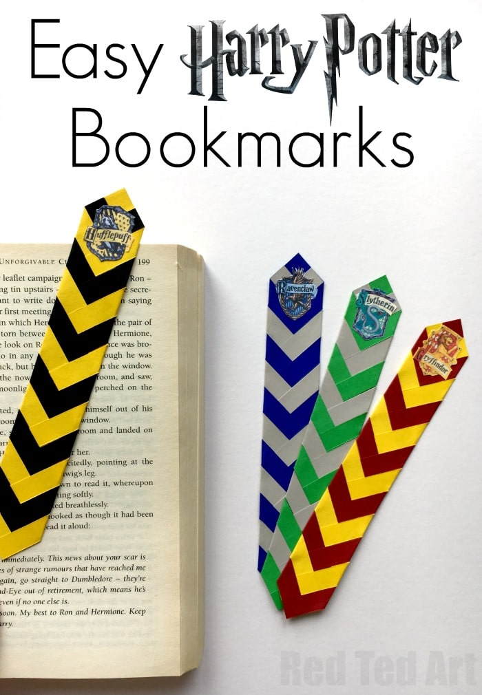 Easy harry potter bookmarks red ted arts blog wonderful harry potter bookmarks love these awesome chevron house colour paper bookmarks including free solutioingenieria Image collections