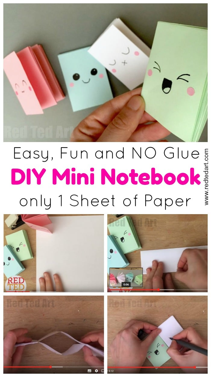 Diy Diy Mini Notebook From A Sheet Of Paper Red Ted Arts Blog