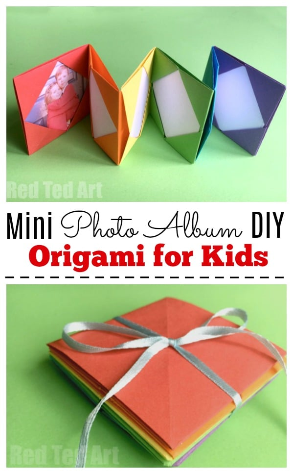 Mini Origami Photo Album Accordion Photo Book Red Ted Art
