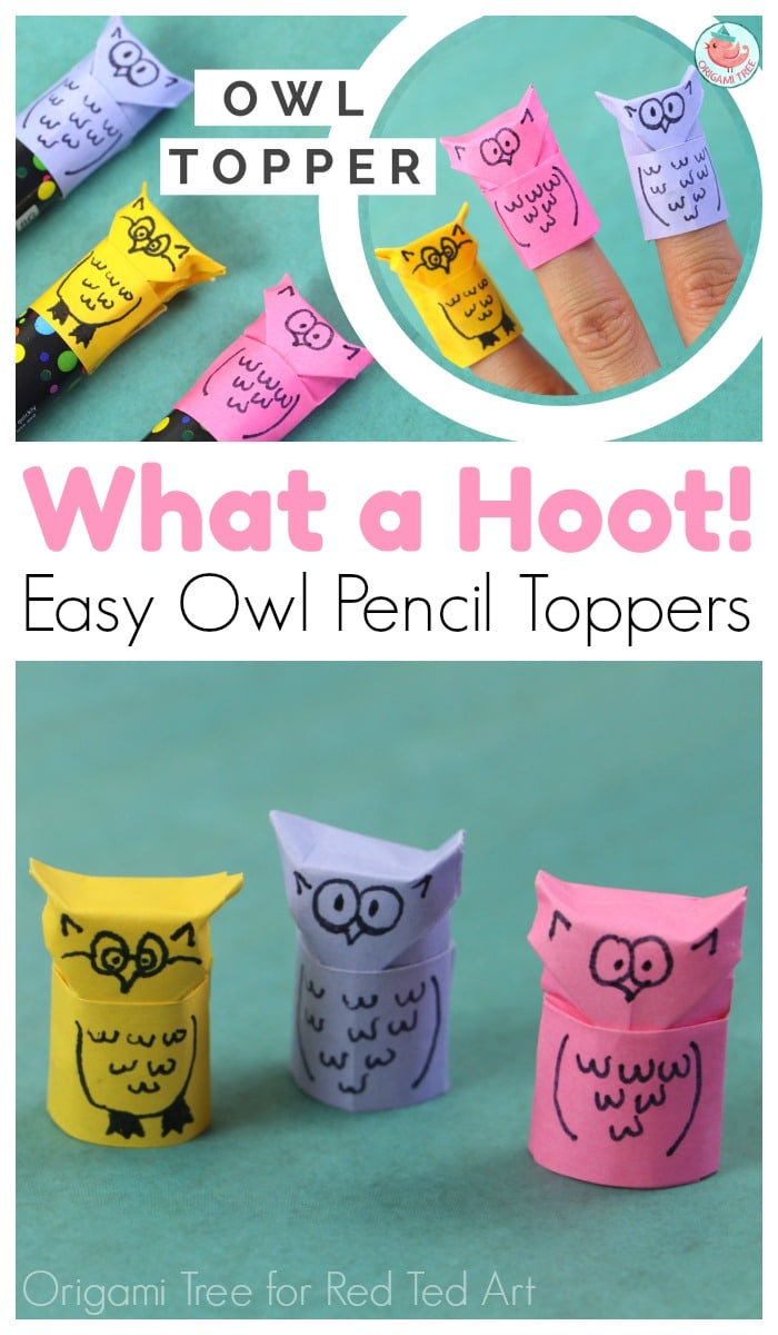 Origami Owl Pencil Topper - how cute are these DIY Paper Owls? Turn paper into Owl Finger Puppets or cute pencil toppers with this darling little origami owl DIY!