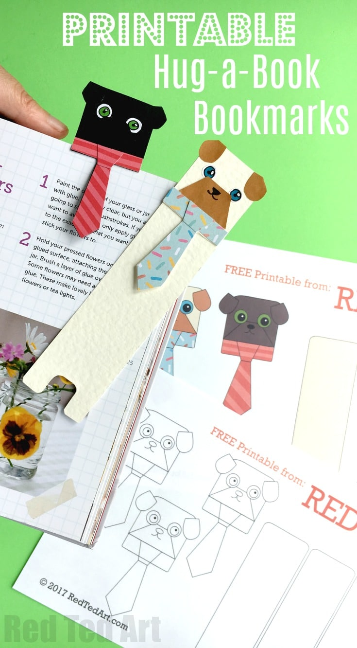 Pug Bookmark Printables Red Ted