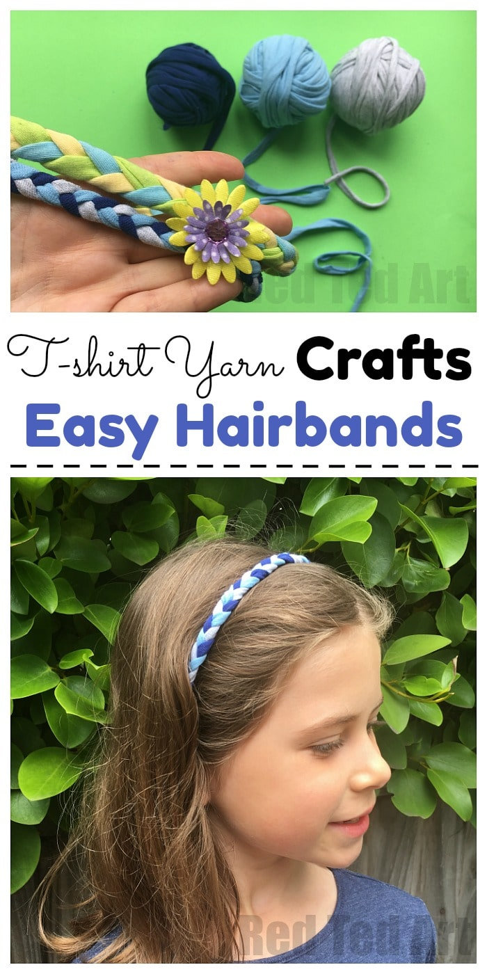 Easy T-shirt Yarn Hairbands - These T-Shirt Yarn Alice Bands are super easy and fun to make. A great upcycle project for kids.