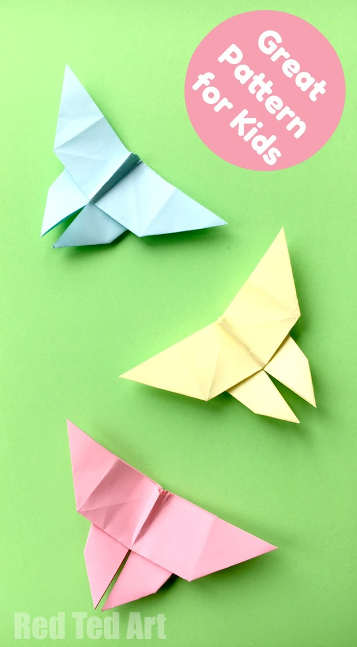 Easy Origami Butterfly - these little paper butterflies are easy and fun to make. We love easy origami for kids. #Butterflies #origami