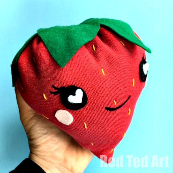 How to sew a Strawberry Plushie. Easy sewing project for kids. Love that this is made from a repurposed red sweater!