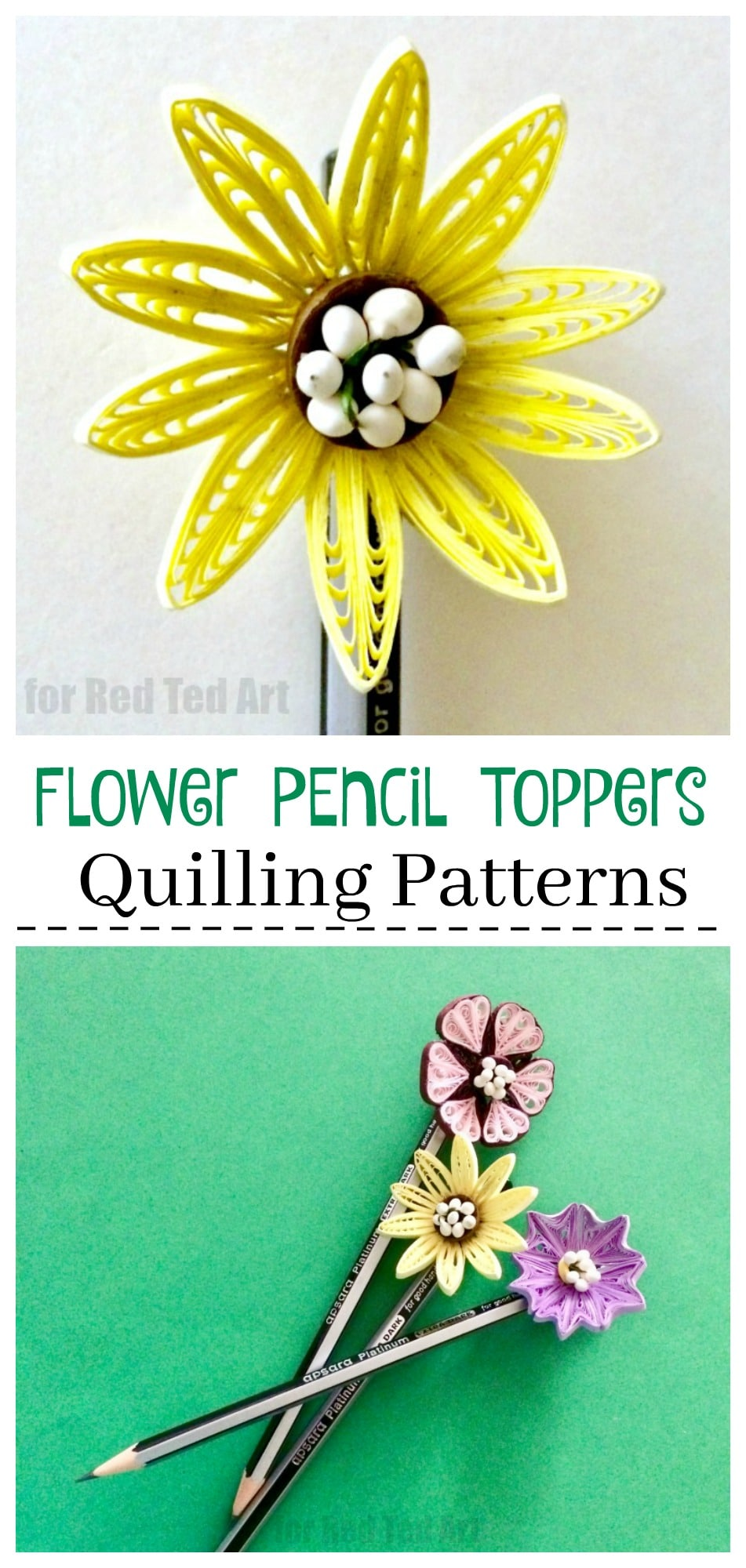 Flower Quilled Pencil Toppers Red Ted Arts Blog