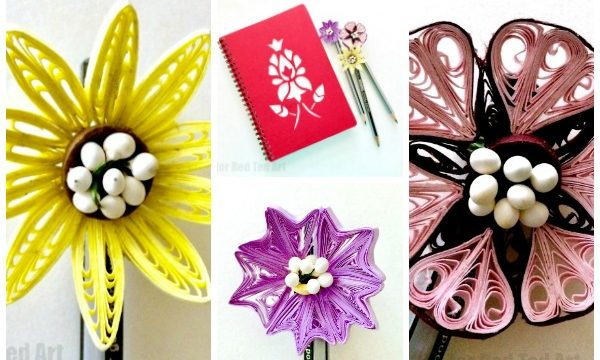 Flower Quilled Pencil Toppers