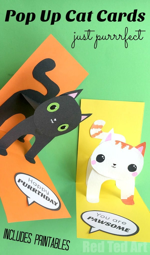 3D Cat Card DIY - You are Purrrfect, Happy Purrthday, You are PAWsome. Some adorable Pop Up Cat Cards - perfect for lots of occassions, from Valentine's Day Card to Birthday Card that kids can make. Make use of our free adorable template!! #popupcards #popup #cards #catcards #popupcatcards #3d #3dcards
