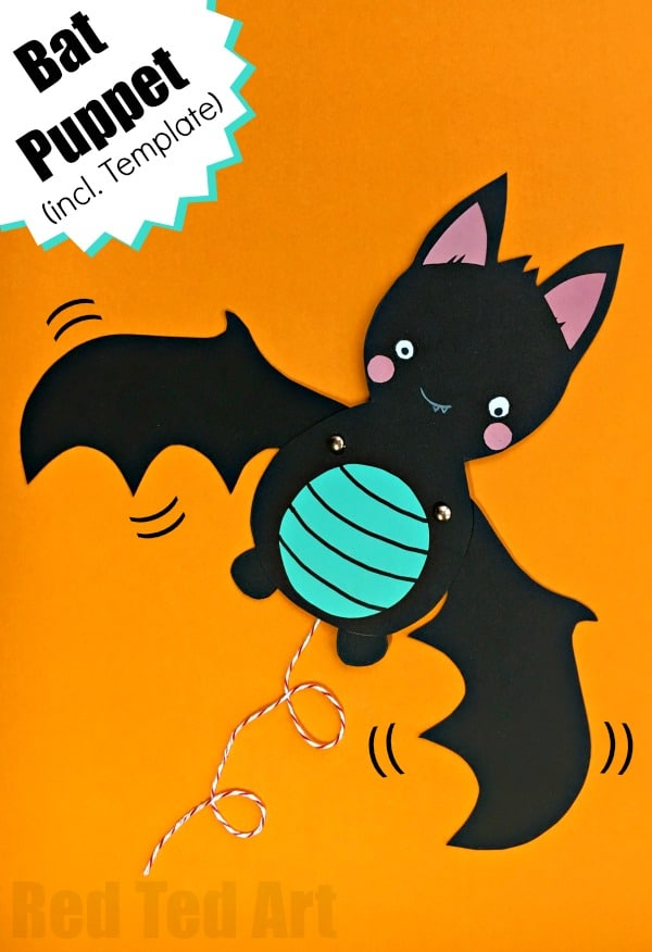 Super Cute Bat Paper Puppet with Templates. How adorable is this flying bat? A great Paper Toy and Cute Halloween Decoration in one. Love Paper Halloween Crafts for Kids!