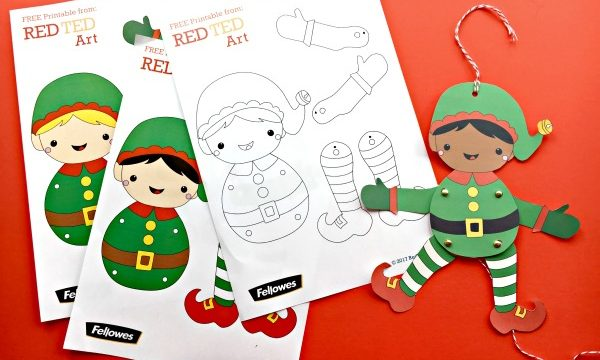 Easy Christmas Elf Paper Puppet with Templates