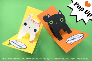 3d Pop Up Cards - easy cat card with templates