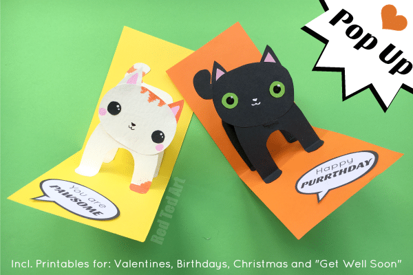 3D Cat Card DIY Red Ted Arts Blog – Pop-up Birthday Card Printable