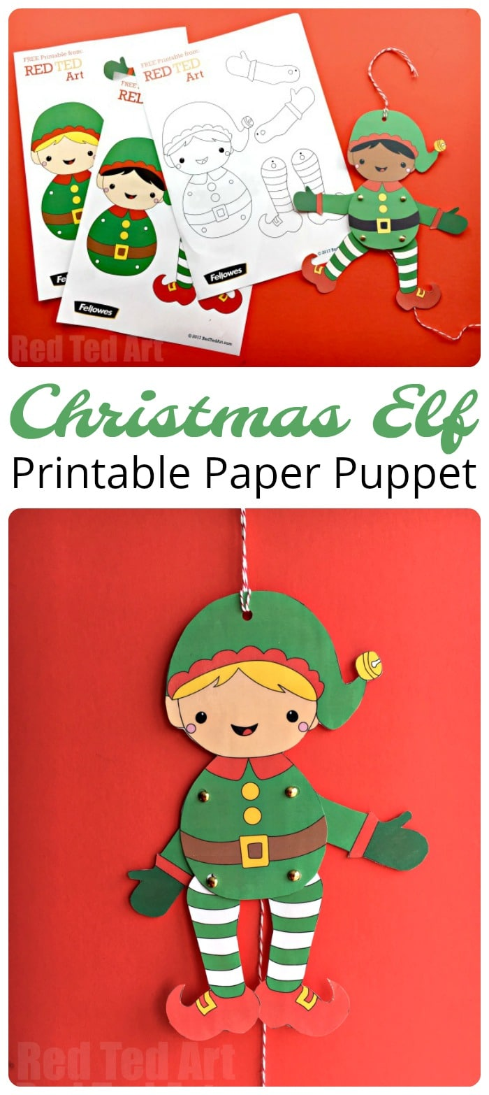 easy christmas elf paper puppet with templates red ted art u0027s blog